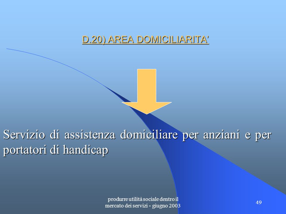 produrre utilità sociale dentro il mercato dei servizi - giugno 2003 49 D.20) AREA DOMICILIARITA' Servizio di assistenza domiciliare per anziani e per portatori di handicap