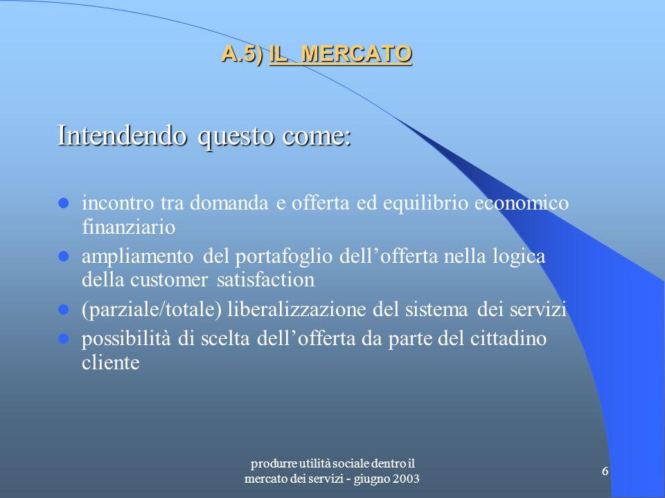 produrre utilità sociale dentro il mercato dei servizi - giugno 2003 7 A.6) MERCATIZZAZIONE E AZIENDALIZZAZIONE La mercatizzazione si struttura tramite una filiera aziendale fra pubblico e privato e il livello di efficacia è proporzionale al livello di aziendalità che pervade l'integrazione.