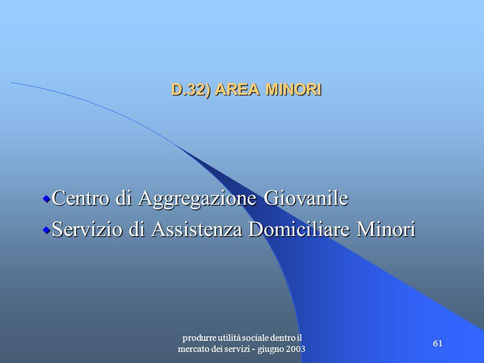 produrre utilità sociale dentro il mercato dei servizi - giugno 2003 61 D.32) AREA MINORI  Centro di Aggregazione Giovanile  Servizio di Assistenza Domiciliare Minori