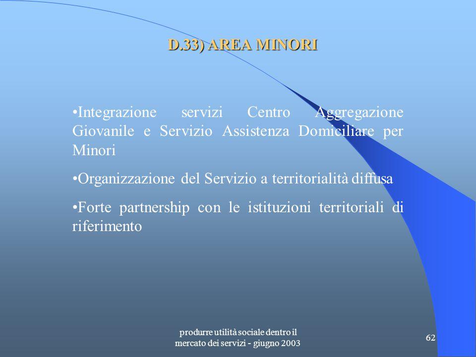 produrre utilità sociale dentro il mercato dei servizi - giugno 2003 62 D.33) AREA MINORI Integrazione servizi Centro Aggregazione Giovanile e Servizio Assistenza Domiciliare per Minori Organizzazione del Servizio a territorialità diffusa Forte partnership con le istituzioni territoriali di riferimento