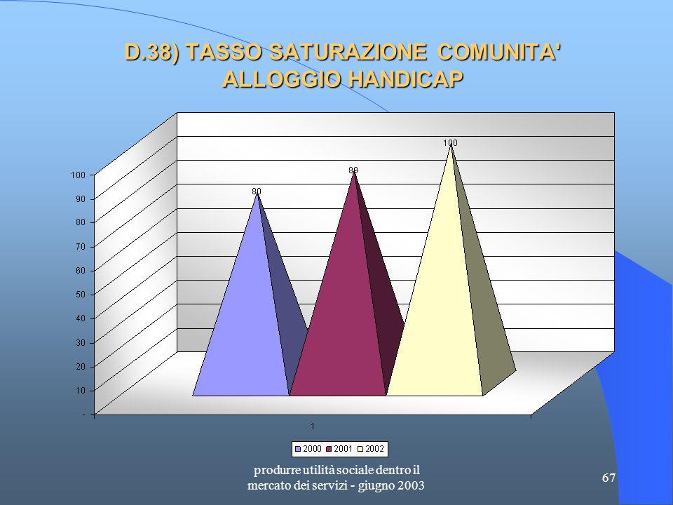 produrre utilità sociale dentro il mercato dei servizi - giugno 2003 67 D.38) TASSO SATURAZIONE COMUNITA ALLOGGIO HANDICAP