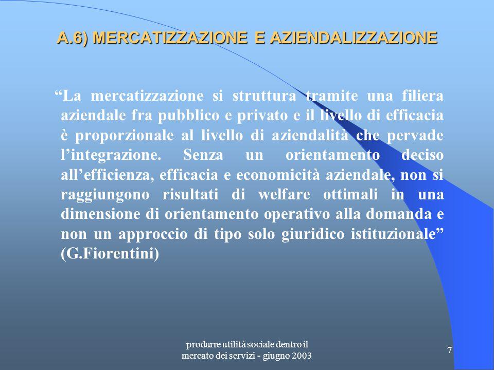 produrre utilità sociale dentro il mercato dei servizi - giugno 2003 58 D.29) AREA INTEGRAZIONE SOCIALE