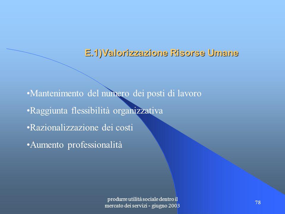 produrre utilità sociale dentro il mercato dei servizi - giugno 2003 78 E.1)Valorizzazione Risorse Umane Mantenimento del numero dei posti di lavoro Raggiunta flessibilità organizzativa Razionalizzazione dei costi Aumento professionalità