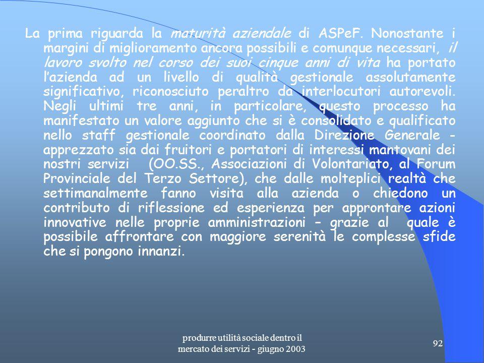 produrre utilità sociale dentro il mercato dei servizi - giugno 2003 92 La prima riguarda la maturità aziendale di ASPeF.
