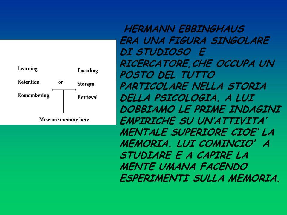 HERMANN EBBINGHAUS ERA UNA FIGURA SINGOLARE DI STUDIOSO E RICERCATORE,CHE OCCUPA UN POSTO DEL TUTTO PARTICOLARE NELLA STORIA DELLA PSICOLOGIA.