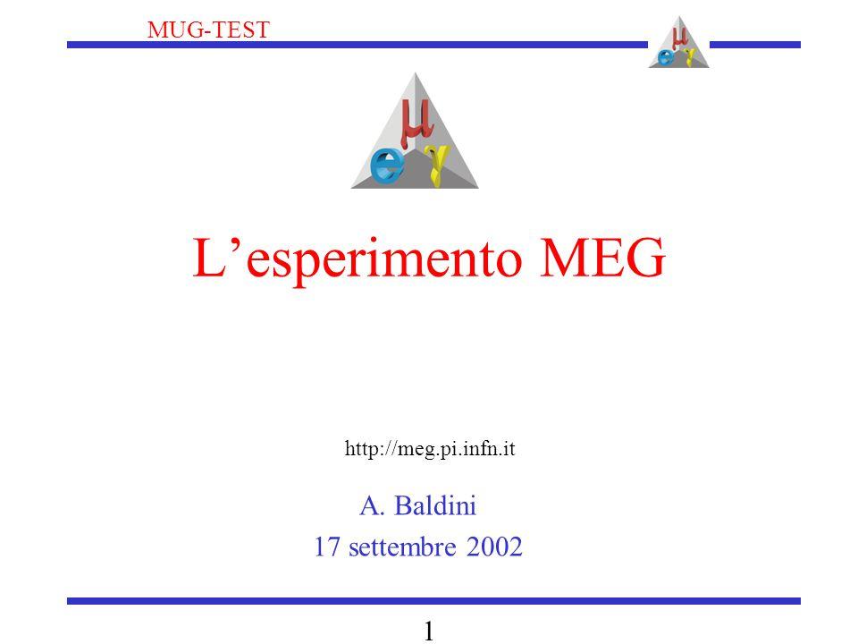 MUG-TEST 1 L'esperimento MEG A. Baldini 17 settembre 2002 http://meg.pi.infn.it