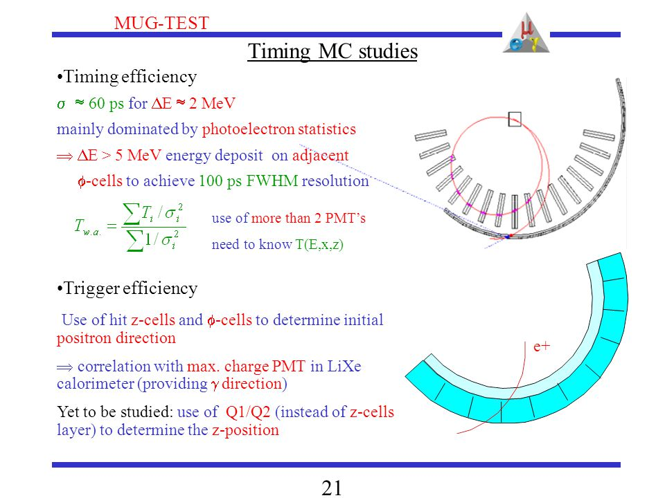 MUG-TEST 21 Timing MC studies Timing efficiency   60 ps for  E  2 MeV mainly dominated by photoelectron statistics   E > 5 MeV energy deposit on