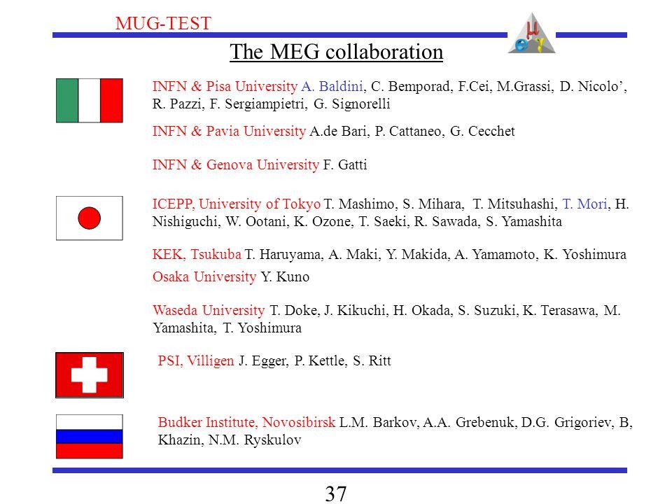 MUG-TEST 37 INFN & Pisa University A. Baldini, C. Bemporad, F.Cei, M.Grassi, D. Nicolo', R. Pazzi, F. Sergiampietri, G. Signorelli ICEPP, University o