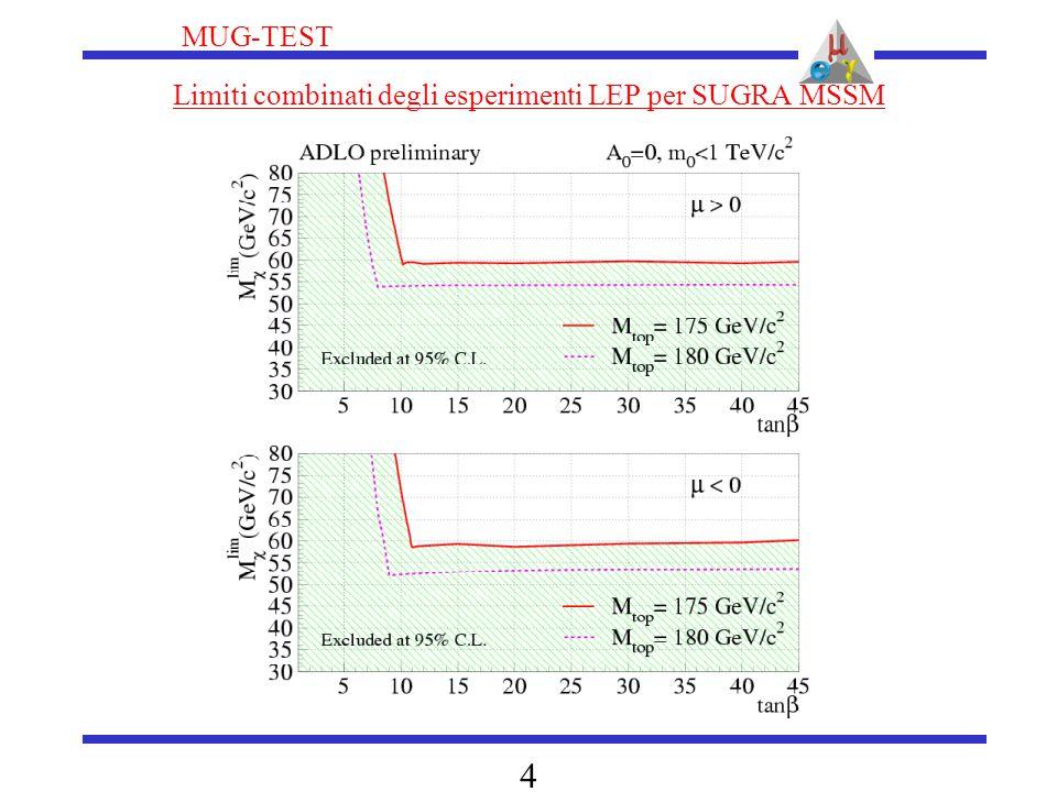 MUG-TEST 4 Limiti combinati degli esperimenti LEP per SUGRA MSSM