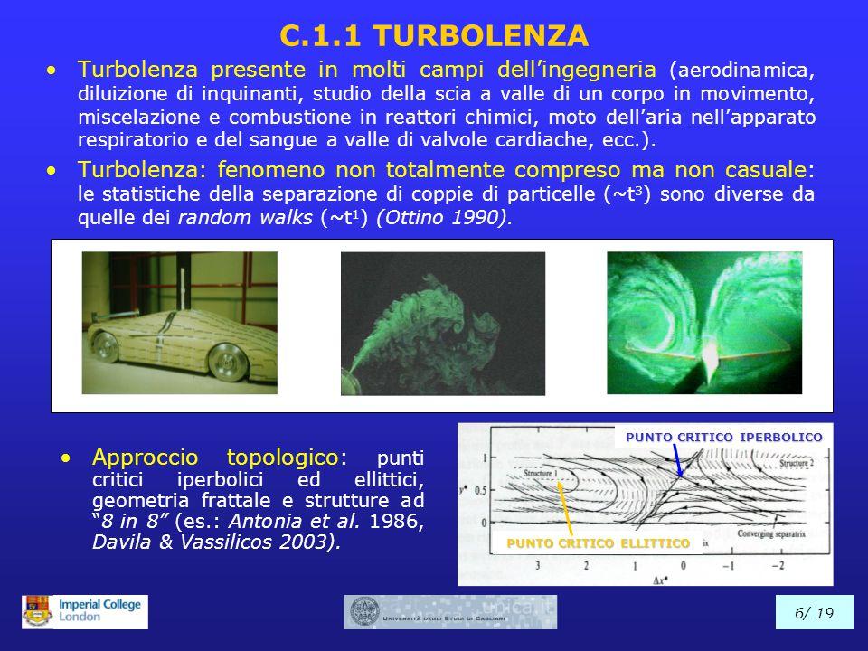 C.1.1 TURBOLENZA Turbolenza presente in molti campi dell'ingegneria (aerodinamica, diluizione di inquinanti, studio della scia a valle di un corpo in