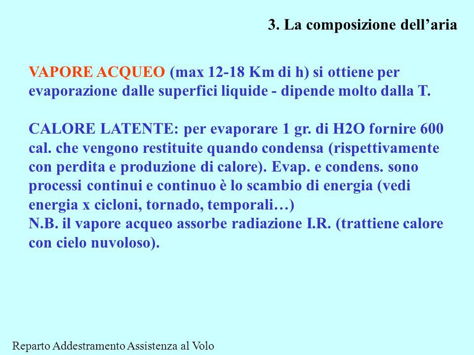VAPORE ACQUEO (max 12-18 Km di h) si ottiene per evaporazione dalle superfici liquide - dipende molto dalla T. CALORE LATENTE: per evaporare 1 gr. di