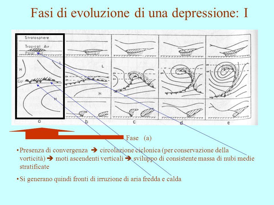 Fasi di evoluzione di una depressione: I Fase (a) Presenza di convergenza  circolazione ciclonica (per conservazione della vorticità)  moti ascenden