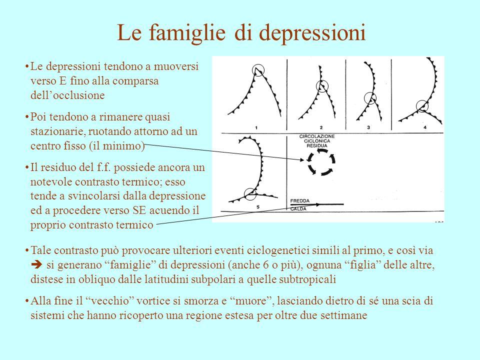 Le famiglie di depressioni Le depressioni tendono a muoversi verso E fino alla comparsa dell'occlusione Poi tendono a rimanere quasi stazionarie, ruot