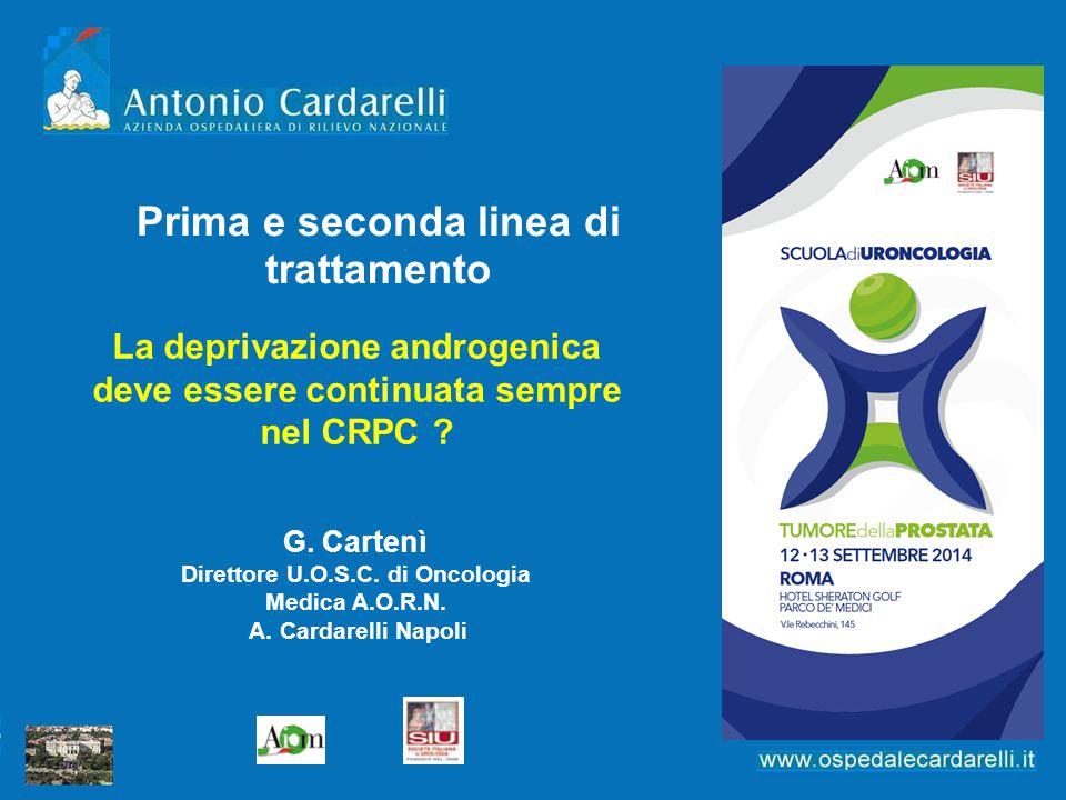 La deprivazione androgenica deve essere continuata sempre nel CRPC ? G. Cartenì Direttore U.O.S.C. di Oncologia Medica A.O.R.N. A. Cardarelli Napoli P