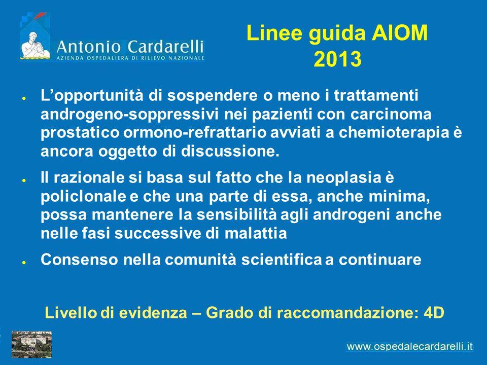 Linee guida AIOM 2013 ● L'opportunità di sospendere o meno i trattamenti androgeno-soppressivi nei pazienti con carcinoma prostatico ormono-refrattari