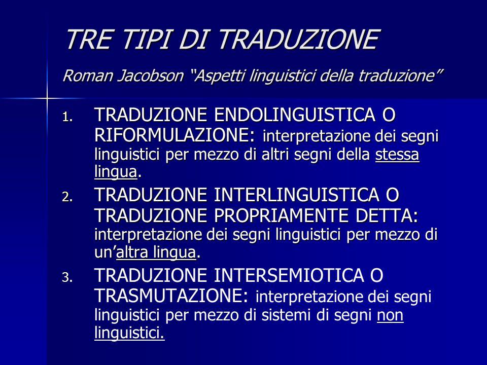 """TRE TIPI DI TRADUZIONE Roman Jacobson """"Aspetti linguistici della traduzione"""" 1. TRADUZIONE ENDOLINGUISTICA O RIFORMULAZIONE: interpretazione dei segni"""