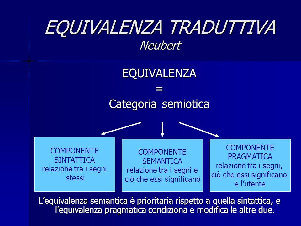 EQUIVALENZA TRADUTTIVA Neubert EQUIVALENZA= Categoria semiotica L'equivalenza semantica è prioritaria rispetto a quella sintattica, e l'equivalenza pr