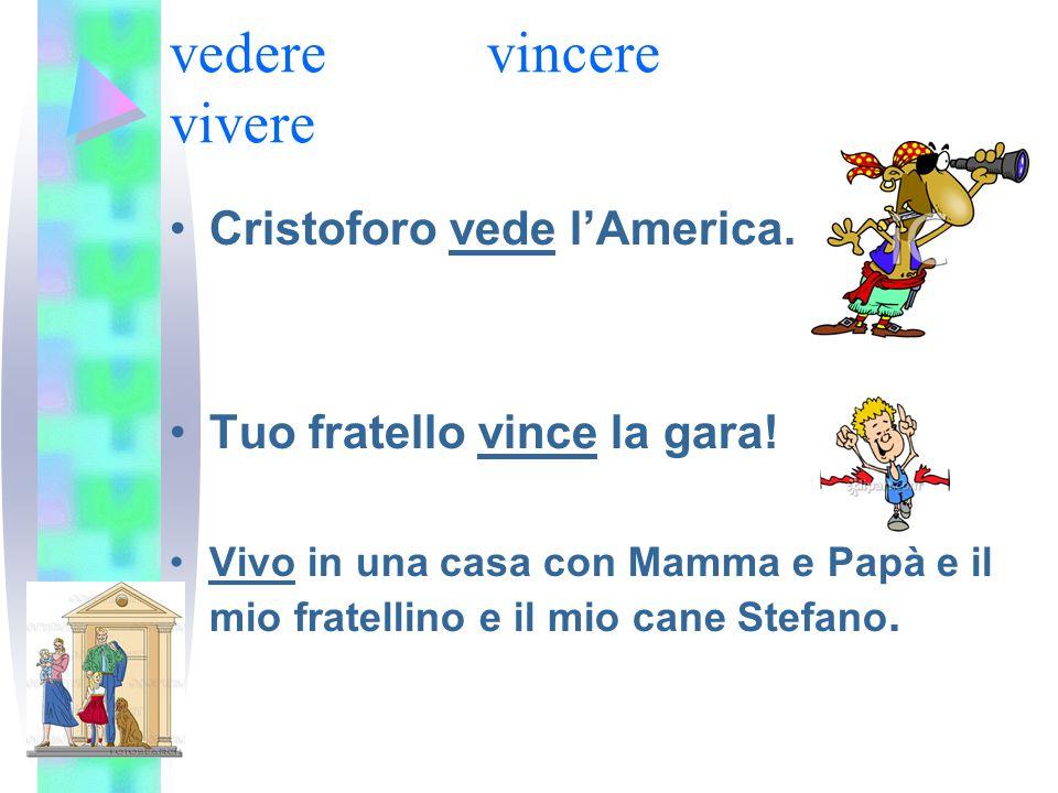 vederevincere vivere Cristoforo vede l'America. Tuo fratello vince la gara! Vivo in una casa con Mamma e Papà e il mio fratellino e il mio cane Stefan