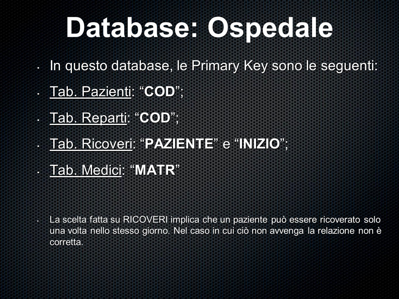 """In questo database, le Primary Key sono le seguenti: In questo database, le Primary Key sono le seguenti: Tab. Pazienti: """"COD""""; Tab. Pazienti: """"COD"""";"""