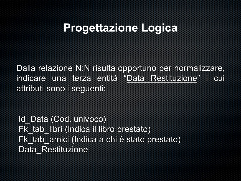 """Progettazione Logica Dalla relazione N:N risulta opportuno per normalizzare, indicare una terza entità """"Data Restituzione"""" i cui attributi sono i segu"""