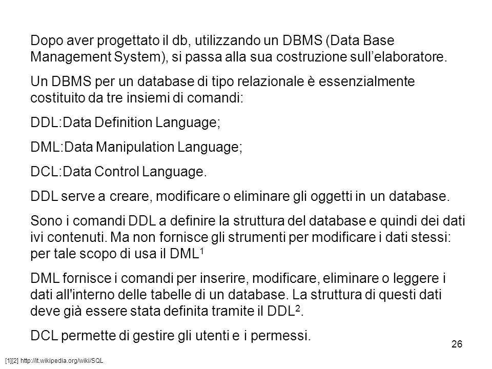 26 Dopo aver progettato il db, utilizzando un DBMS (Data Base Management System), si passa alla sua costruzione sull'elaboratore. Un DBMS per un datab