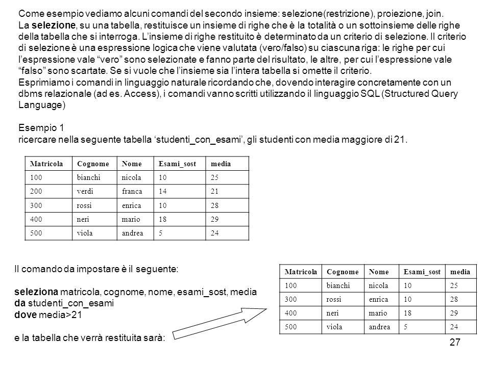 27 Come esempio vediamo alcuni comandi del secondo insieme: selezione(restrizione), proiezione, join. La selezione, su una tabella, restituisce un ins