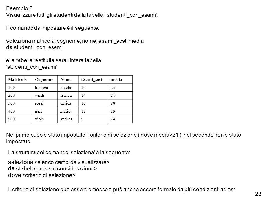 28 Il comando da impostare è il seguente: seleziona matricola, cognome, nome, esami_sost, media da studenti_con_esami e la tabella restituita sarà l'i