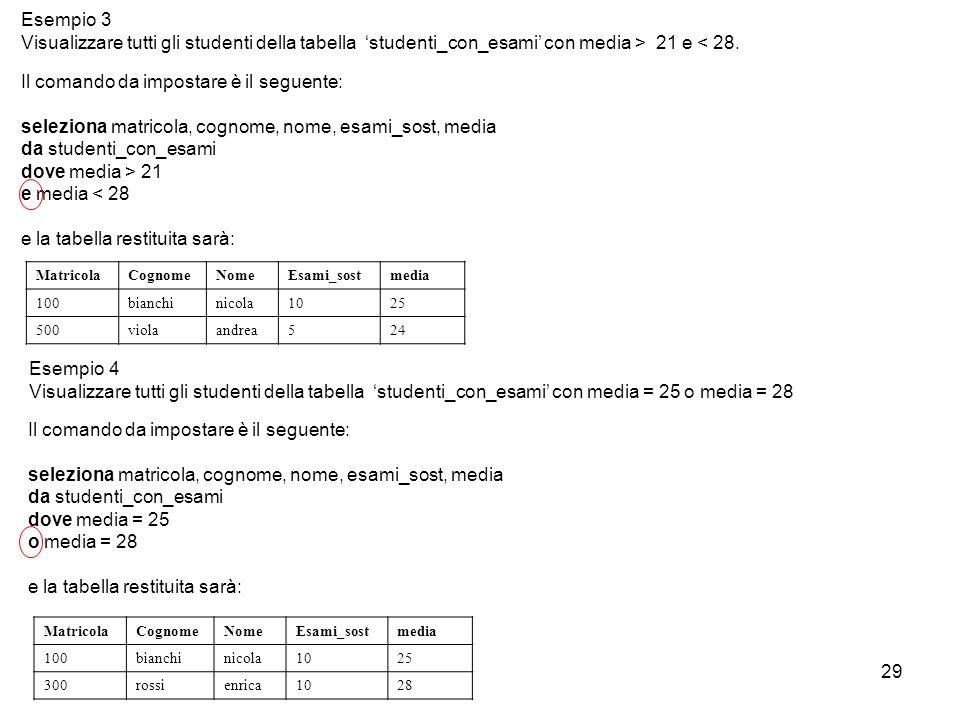 29 Il comando da impostare è il seguente: seleziona matricola, cognome, nome, esami_sost, media da studenti_con_esami dove media > 21 e media < 28 e l