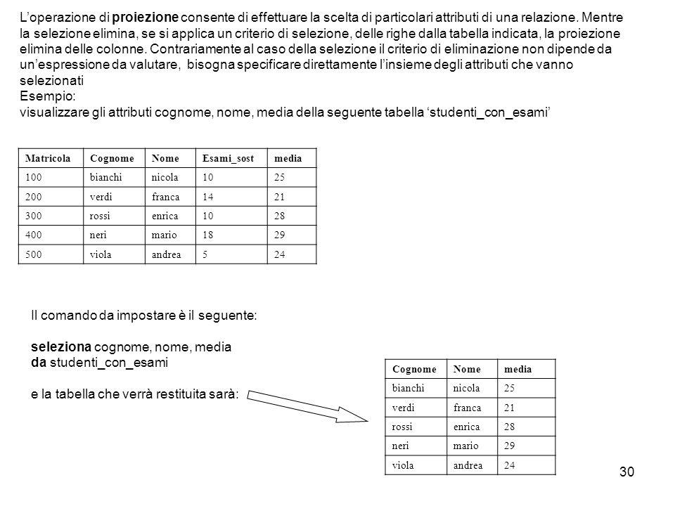 30 L'operazione di proiezione consente di effettuare la scelta di particolari attributi di una relazione. Mentre la selezione elimina, se si applica u