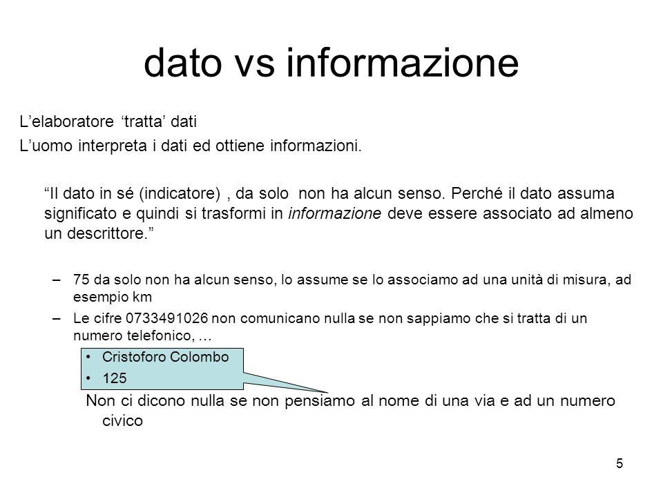 """5 L'elaboratore 'tratta' dati L'uomo interpreta i dati ed ottiene informazioni. """"Il dato in sé (indicatore), da solo non ha alcun senso. Perché il dat"""