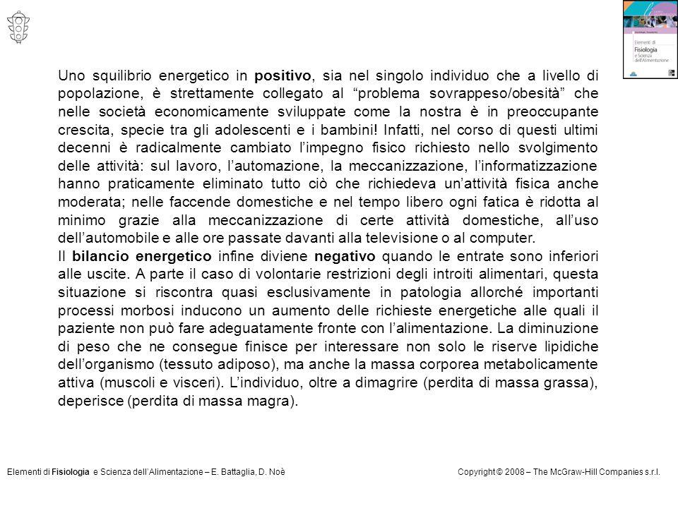 Elementi di Fisiologia e Scienza dell'Alimentazione – E. Battaglia, D. NoèCopyright © 2008 – The McGraw-Hill Companies s.r.l. Uno squilibrio energetic
