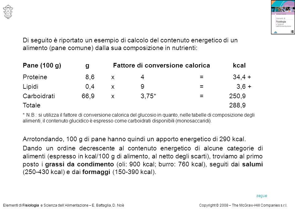 Elementi di Fisiologia e Scienza dell'Alimentazione – E. Battaglia, D. NoèCopyright © 2008 – The McGraw-Hill Companies s.r.l. Di seguito è riportato u