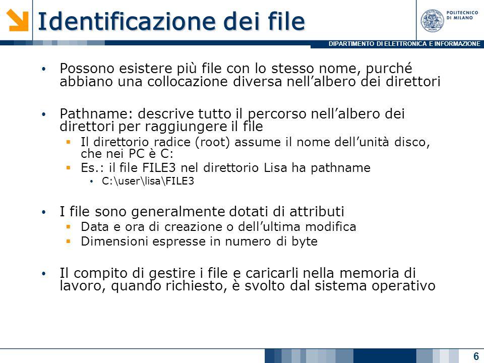 DIPARTIMENTO DI ELETTRONICA E INFORMAZIONE Lettura e scrittura di file testuali 1/2 In un file testuale possono leggere e scrivere  Un carattere per volta ( fgetc, fputc )  Un blocco formattato ( fscanf, fprintf ) int fgetc (FILE *fp)  legge il prossimo carattere dal file specificato come parametro int fputc (int c, FILE *fp)  scrive sul file specificato come parametro il carattere specificato come parametro Esistono anche le funzioni getc e putc  Hanno lo stesso prototipo e sono equivalenti  Hanno una diversa implementazioni 17