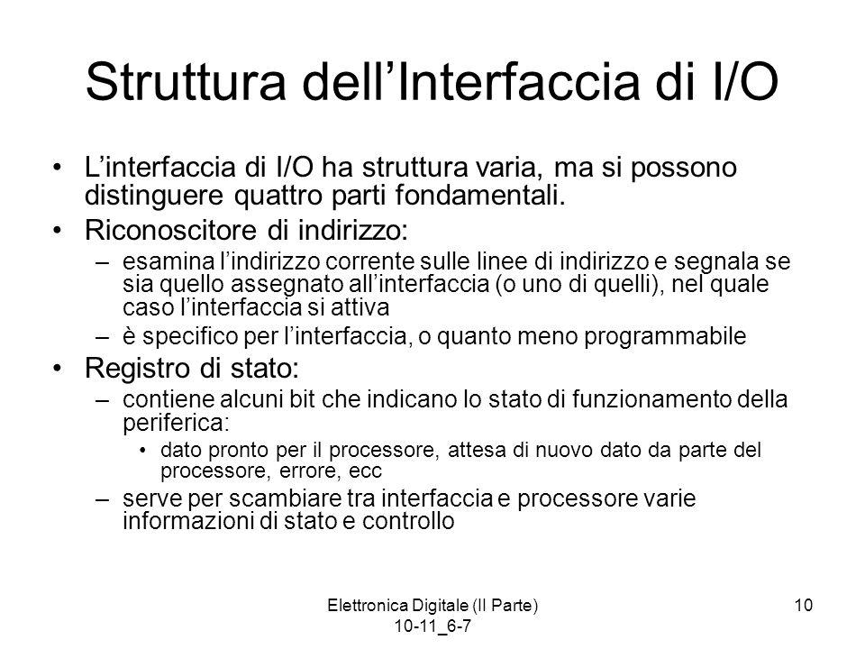 Elettronica Digitale (II Parte) 10-11_6-7 10 Struttura dell'Interfaccia di I/O L'interfaccia di I/O ha struttura varia, ma si possono distinguere quat