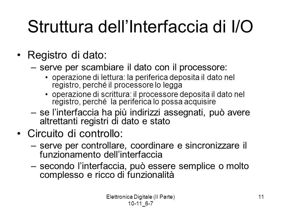 Elettronica Digitale (II Parte) 10-11_6-7 11 Struttura dell'Interfaccia di I/O Registro di dato: –serve per scambiare il dato con il processore: opera
