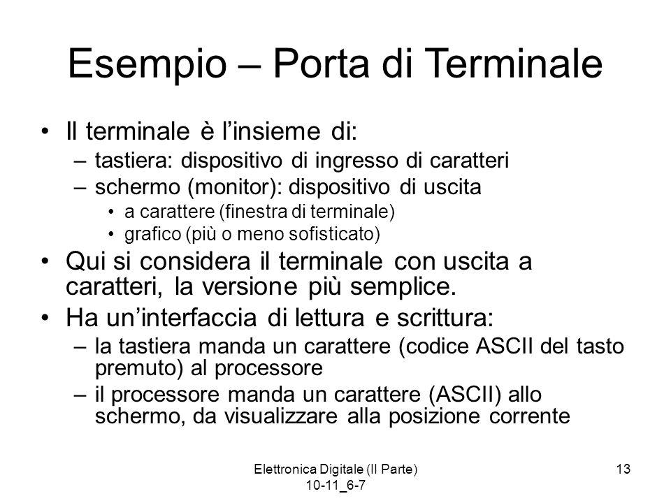 Elettronica Digitale (II Parte) 10-11_6-7 13 Esempio – Porta di Terminale Il terminale è l'insieme di: –tastiera: dispositivo di ingresso di caratteri