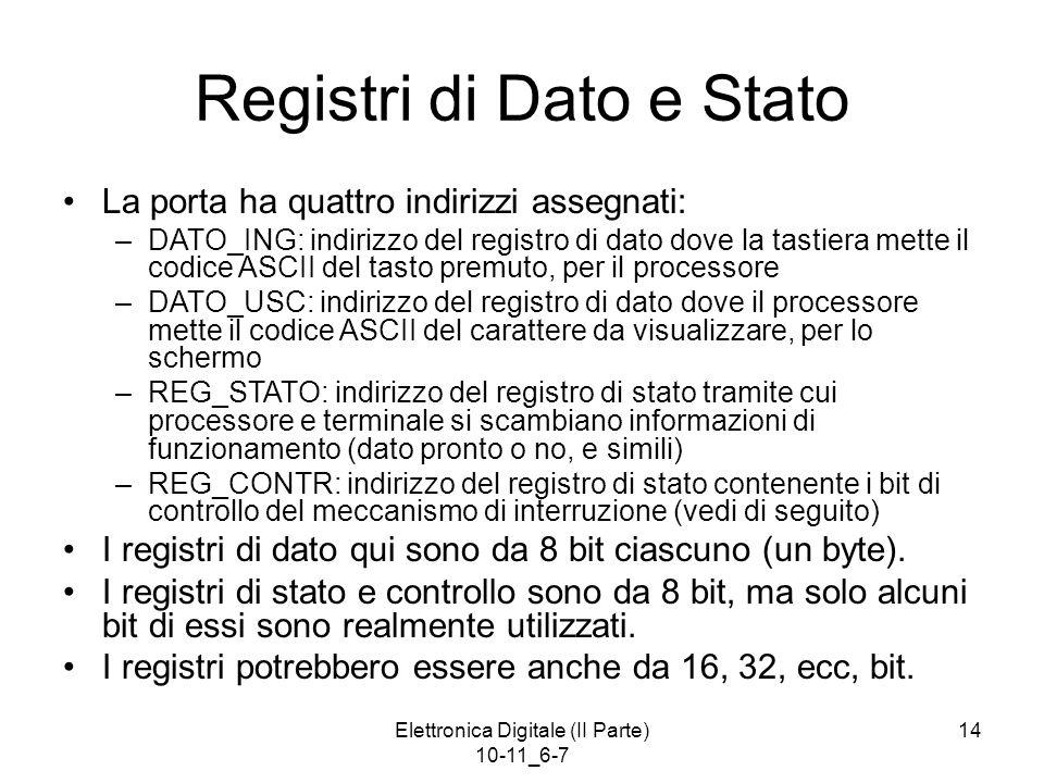 Elettronica Digitale (II Parte) 10-11_6-7 14 Registri di Dato e Stato La porta ha quattro indirizzi assegnati: –DATO_ING: indirizzo del registro di da
