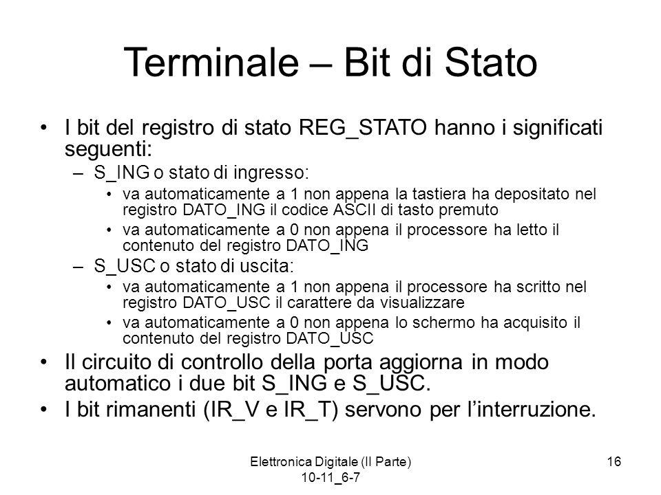 Elettronica Digitale (II Parte) 10-11_6-7 16 Terminale – Bit di Stato I bit del registro di stato REG_STATO hanno i significati seguenti: –S_ING o sta