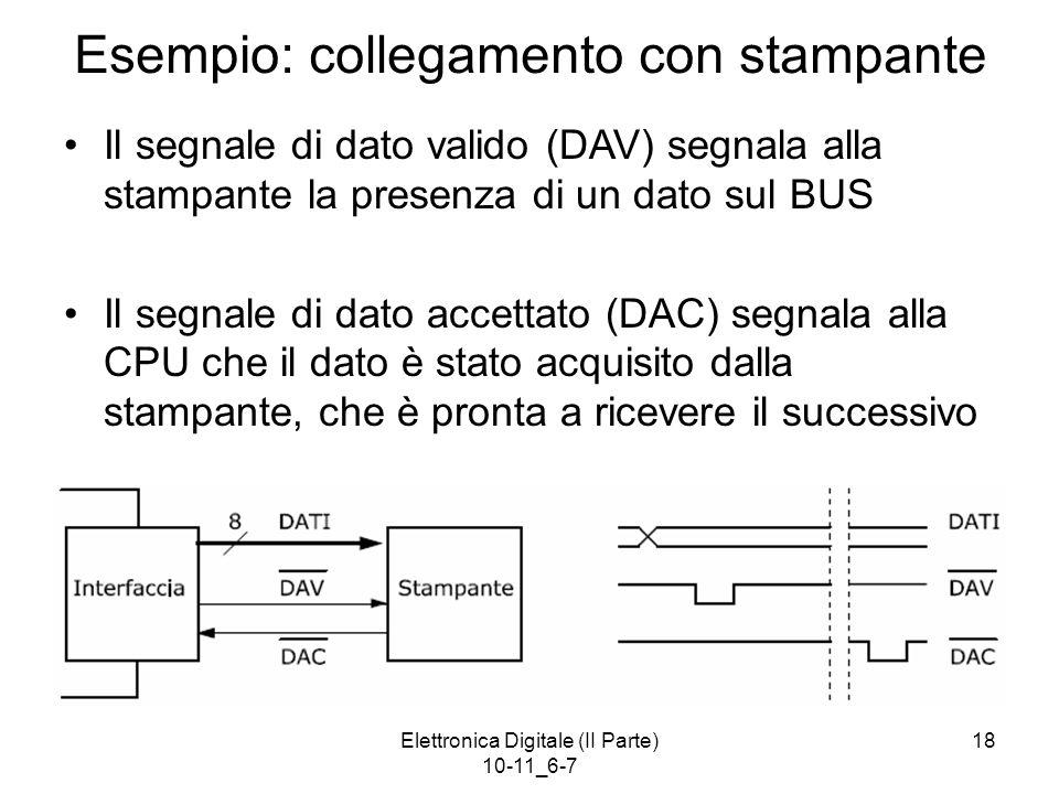 Elettronica Digitale (II Parte) 10-11_6-7 18 Esempio: collegamento con stampante Il segnale di dato valido (DAV) segnala alla stampante la presenza di