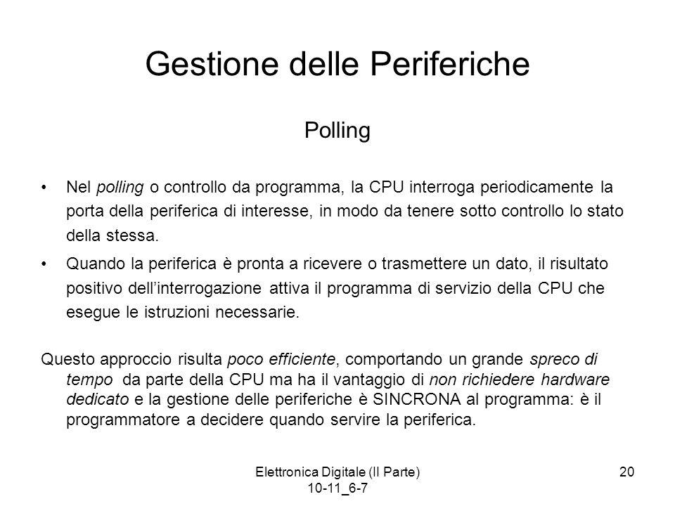 Elettronica Digitale (II Parte) 10-11_6-7 20 Gestione delle Periferiche Polling Nel polling o controllo da programma, la CPU interroga periodicamente