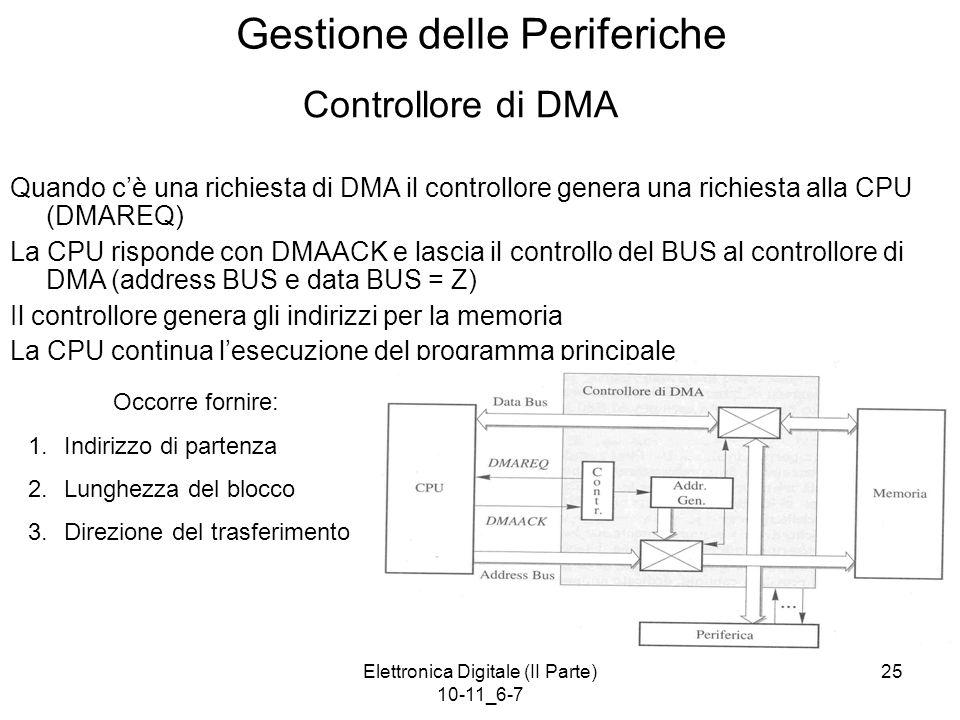 Elettronica Digitale (II Parte) 10-11_6-7 25 Gestione delle Periferiche Controllore di DMA Quando c'è una richiesta di DMA il controllore genera una r