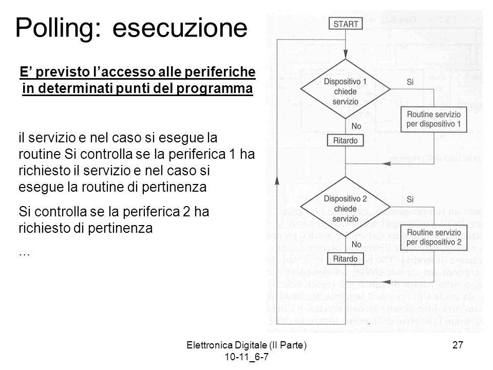 Elettronica Digitale (II Parte) 10-11_6-7 27 Polling: esecuzione E' previsto l'accesso alle periferiche in determinati punti del programma il servizio