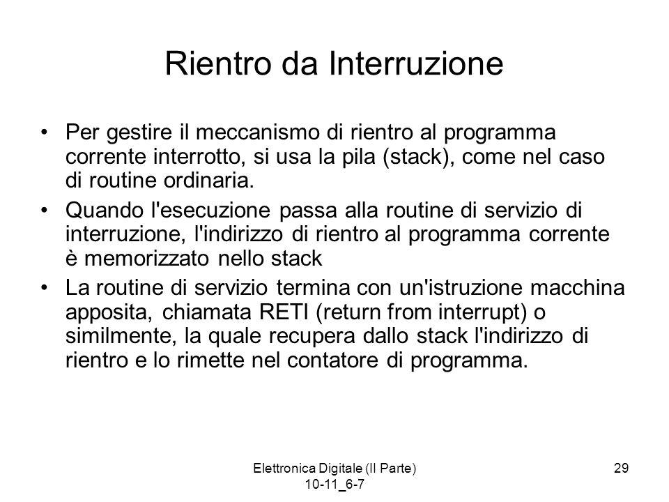 Elettronica Digitale (II Parte) 10-11_6-7 29 Rientro da Interruzione Per gestire il meccanismo di rientro al programma corrente interrotto, si usa la
