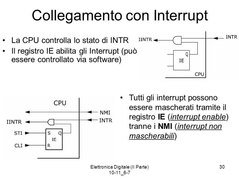 Elettronica Digitale (II Parte) 10-11_6-7 30 Collegamento con Interrupt La CPU controlla lo stato di INTR Il registro IE abilita gli Interrupt (può es