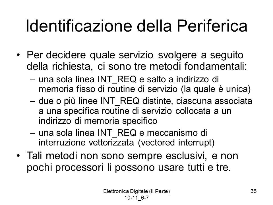 Elettronica Digitale (II Parte) 10-11_6-7 35 Identificazione della Periferica Per decidere quale servizio svolgere a seguito della richiesta, ci sono