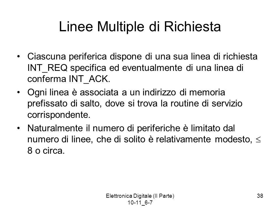 Elettronica Digitale (II Parte) 10-11_6-7 38 Linee Multiple di Richiesta Ciascuna periferica dispone di una sua linea di richiesta INT_REQ specifica e
