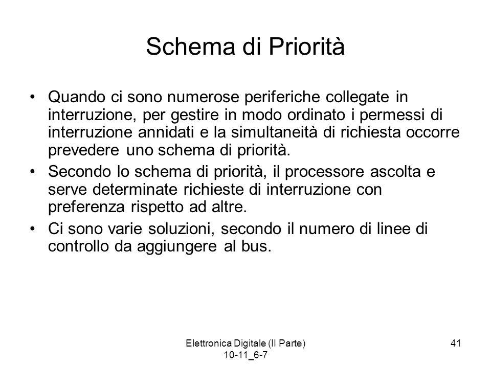 Elettronica Digitale (II Parte) 10-11_6-7 41 Schema di Priorità Quando ci sono numerose periferiche collegate in interruzione, per gestire in modo ord