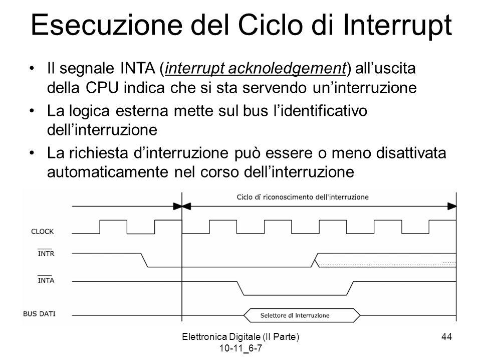 Elettronica Digitale (II Parte) 10-11_6-7 44 Esecuzione del Ciclo di Interrupt Il segnale INTA (interrupt acknoledgement) all'uscita della CPU indica