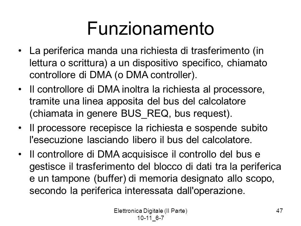 Elettronica Digitale (II Parte) 10-11_6-7 47 Funzionamento La periferica manda una richiesta di trasferimento (in lettura o scrittura) a un dispositiv