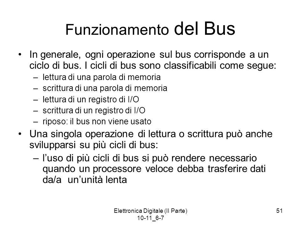 Elettronica Digitale (II Parte) 10-11_6-7 51 Funzionamento del Bus In generale, ogni operazione sul bus corrisponde a un ciclo di bus. I cicli di bus